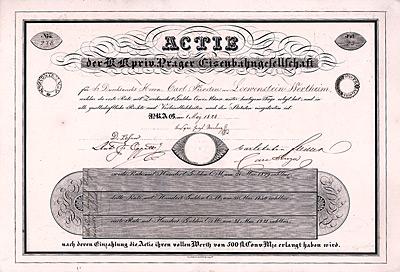 Aktie der K.k. Prager Eisenbahngesellschaft aus dem Jahr 1828