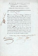 Mines de Charbon - Compagnie de MM. Tvouvenel et Pyron, 1787
