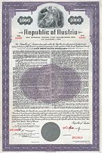 Republic of Austria 5,5 % Bond 1.000 $, New York, 1958