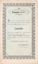 Eisenerz-Grube Zornader Kuxschein über 1 Kux, Nr. 1 Neunkirchen, 1.4.1877