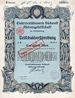Elektricitätswerk Südwest AG, Schöneberg, 1906 - Wunderschön im Jugendstil gestaltetes Papier aus der Künstlerwerkstatt der Reichsdruckerei.