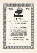 """Europa-Film-AG, 1927 - Tochterfirma der """"Aktiengesellschaft für Buch und Presse"""""""
