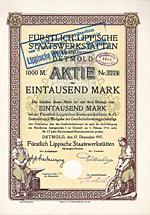 Fürstlich Lippische Staatswerkstätten AG, Detmold, 1917