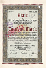 Metallpapier-Bronzefarben-Blattmetallwerke AG, 1922