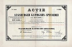 Augsburger Kammgarn-Spinnerei, Aktie von 1941