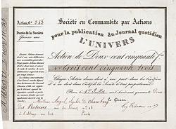 Société en Commandite par Actions pour la publication du Journal quotidien L'Univers, Paris, 1842