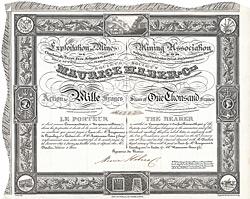 Société Maurice Haber & Compagnie, Exploitation de Mines de Charbon de Terre, Fers, Schistes et autres, 1829