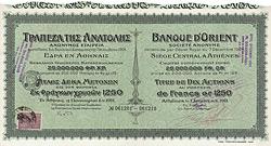 Banque d'Orient S.A., 1250 Gold Francs, Athen, 1911