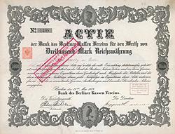Bank des Berliner Kassen Vereins, Aktie von 1883