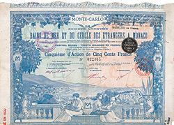 S.A. des Bains de Mer & du Cercle des �trangers a Monaco, 1899