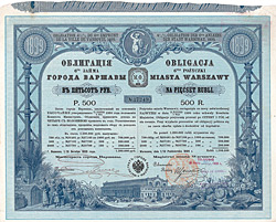 Stadt Warschau 4,5 % Obligation 500 Rubel, 1899