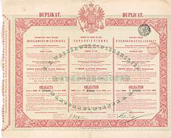 Warschau-Wiener Eisenbahn-Gesellschaft, Obligation 125 Silber-Rubel, 1860 - DUPLIKAT