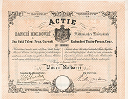 Moldauische Landesbank, Jassy, 1867, 100 Thaler Aktie