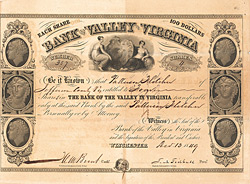 Bank of the Valley in Virginia, Winchester, 1849