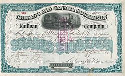 Chicago & Canada Southern Railway Company, New York, 1879 - Originalsignatur von Sidney Dillon als Pr�sident, ausgestellt auf und r�ckseitig original signiert von William H. Vanderbilt.