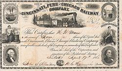 Cincinnati, Peru & Chicago Railway , Peru, Indiana, 1856