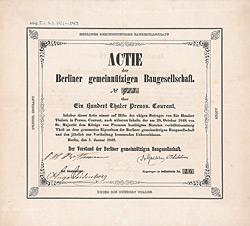 Berliner gemeinnützige Baugesellschaft, 1849