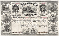 Harrisburg, Portsmouth, Mount Joy & Lancaster Railroad Company, Philadelphia, 1873, original signiert von J. Edgar Thomson als Pr�sident.
