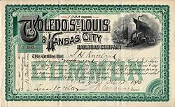 Toledo, St. Louis & Kansas City Railroad Company, 1890
