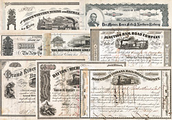 US-RR Sammlung im Album  100 US-RR Stocks & Bonds