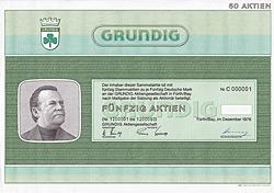 GRUNDIG AG Sammelaktie 2500 DM, Fürth/Bay.,1976