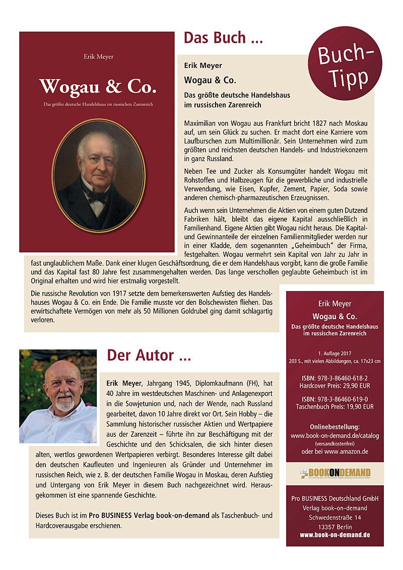 Wogau & Co. Das größte deutsche Handelshaus im russischen Zarenreich  Autor: Erik Meyer