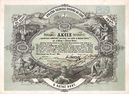 Vereinigte Landwirtschaftliche Zuckerfabrik in Kuttenberg, Aktie von 1865