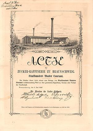 Zucker-Raffinerie zu Braunschweig, Aktie von 1859