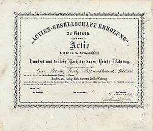 Gesellschaft Erholung zu Viersen - Actie über 150 Mark von 1877, Unikat, Schätzpreis: 1.250 Euro