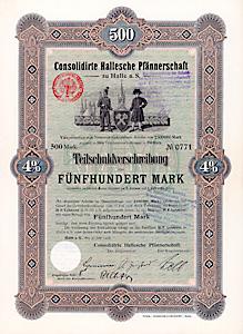Consolidirte Hallesche Pfännerschaft- 4 % Teilschuldv. 500 Mark 30.6.1906