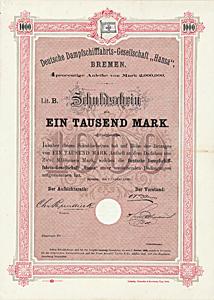 Deutsche Dampfschifffahrts-Gesellschaft Hansa, Bremen, Anleihe über 1000 Mark von 1888 - UNIKAT!