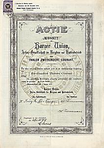 Harzer Union AG für Bergbau und Hüttenbetrieb, Hannover, Gründeraktie über 200 Taler aus dem Jahr 1873 - NUR 2 Exewmplare seit Jahrzehnten bekannt!