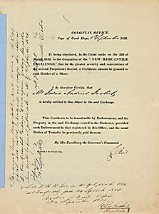 New Mercantile Exchange, Cape Town, Cape of Good Hope, 1 Share, datiert 1822. Die Börse von Kapstadt wurde 1817 als erster afrikanischer Markt für Wertpapiere errichtet. Nur zwei Jahre später wurde die New Mercantile Exchange gegründet.