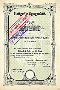 Stuttgarter Gypsgeschäft, Stuttgart, Gründeraktie über 100 Taler aus dem Jahr 1873. Extrem seltenes Papier!