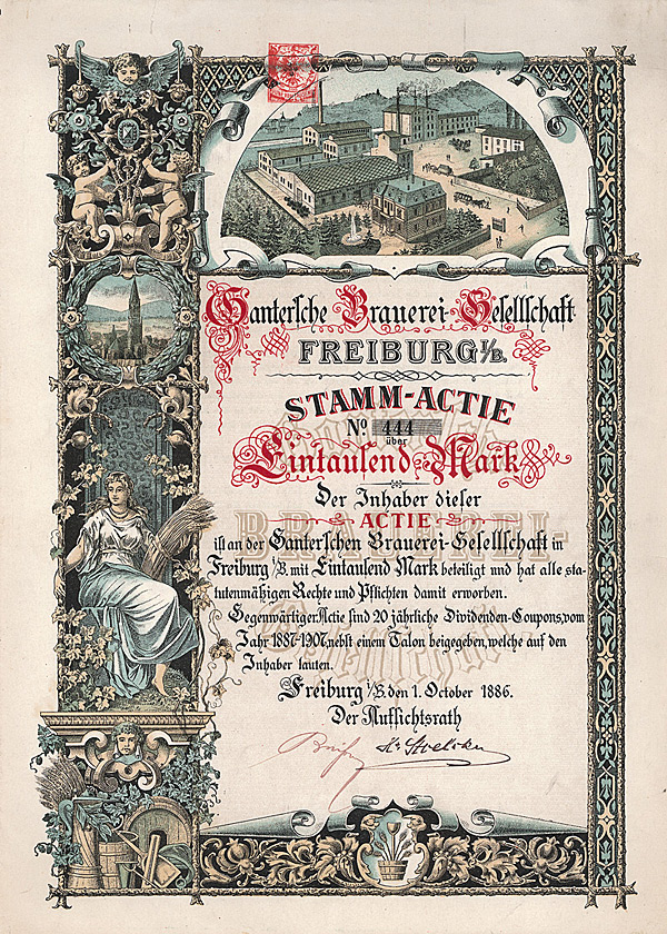 Kaufe Aktien der Gantersche Brauerei-Gesellschaft von 1886